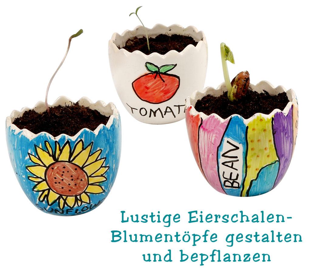 Lustige Eierschalen-Blumentöpfe gestalten und bepflanzen